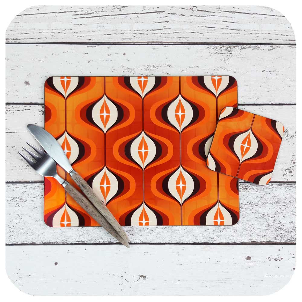 1970s Orange Op Art Placemat & Coaster Set