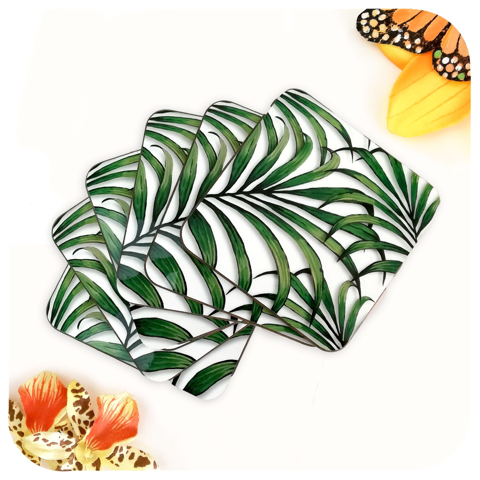 Palm Leaf Print Coasters, set of 6 in a fan | The Inkabilly Emporium