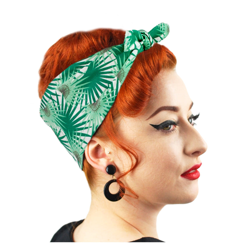 Palm Leaves Bandana, worn in a 1950s Rockabilly style, model looking to the right | The Inkabilly Emporium