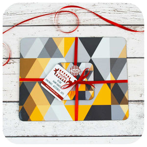 Scandi Geometric Placemat & Coaster in Yellow & Grey | The Inkabilly Emporium