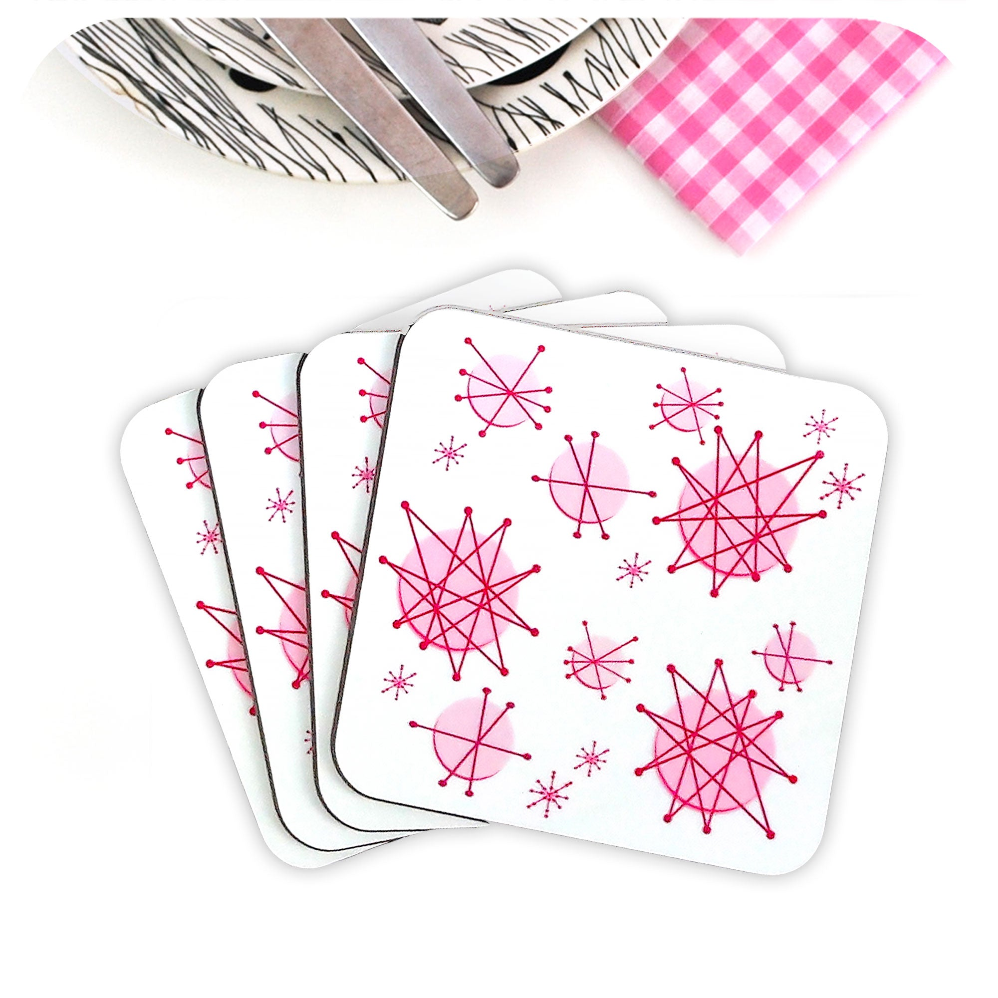 Set of four Pink Atomic Starburst Coasters | The Inkabilly Emporium