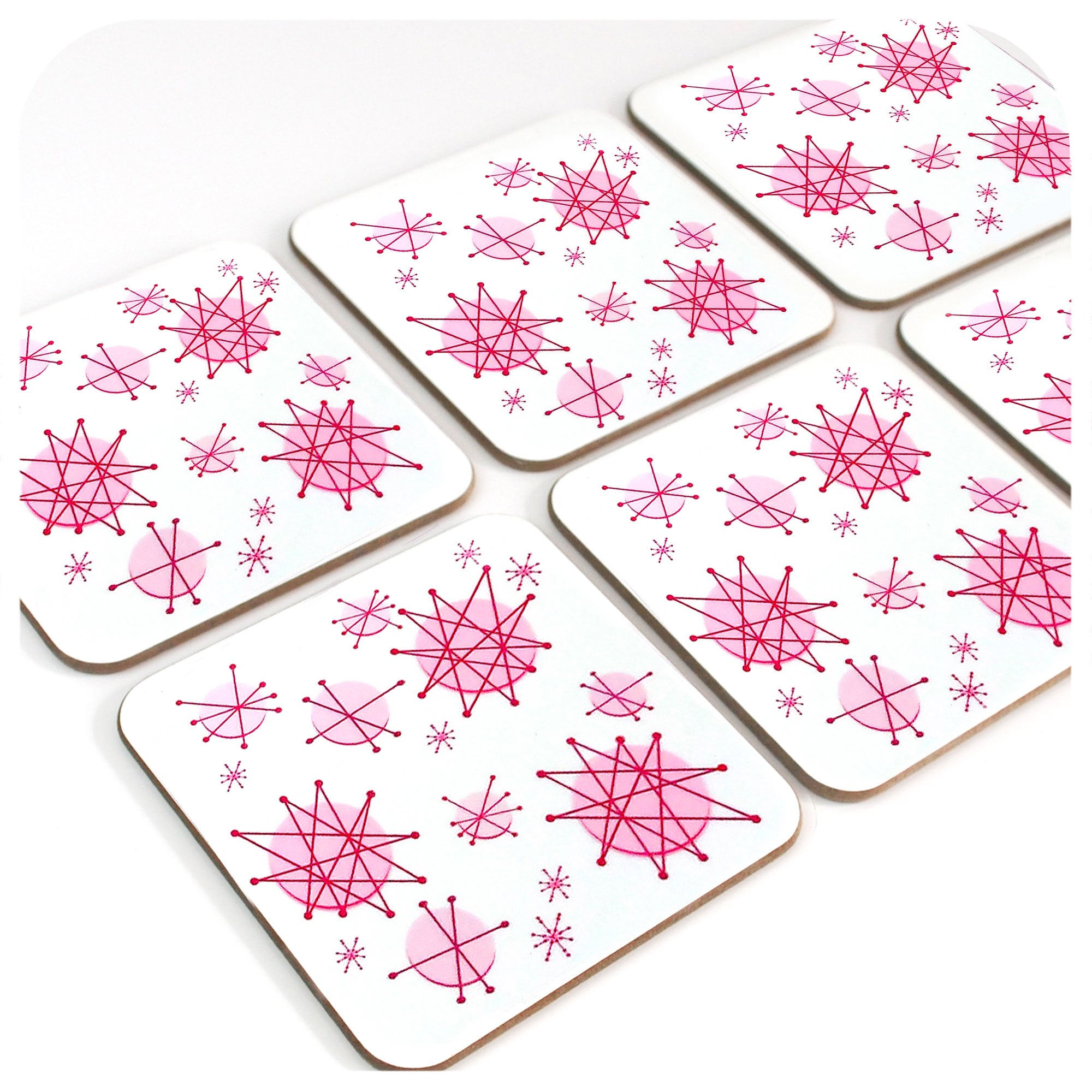 Set of 6 Pink Atomic Starburst Coasters | The Inkabilly Emporium