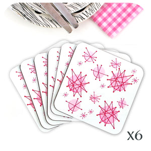 Pink Atomic Starburst Coasters, set of 6 | The Inkabilly Emporium