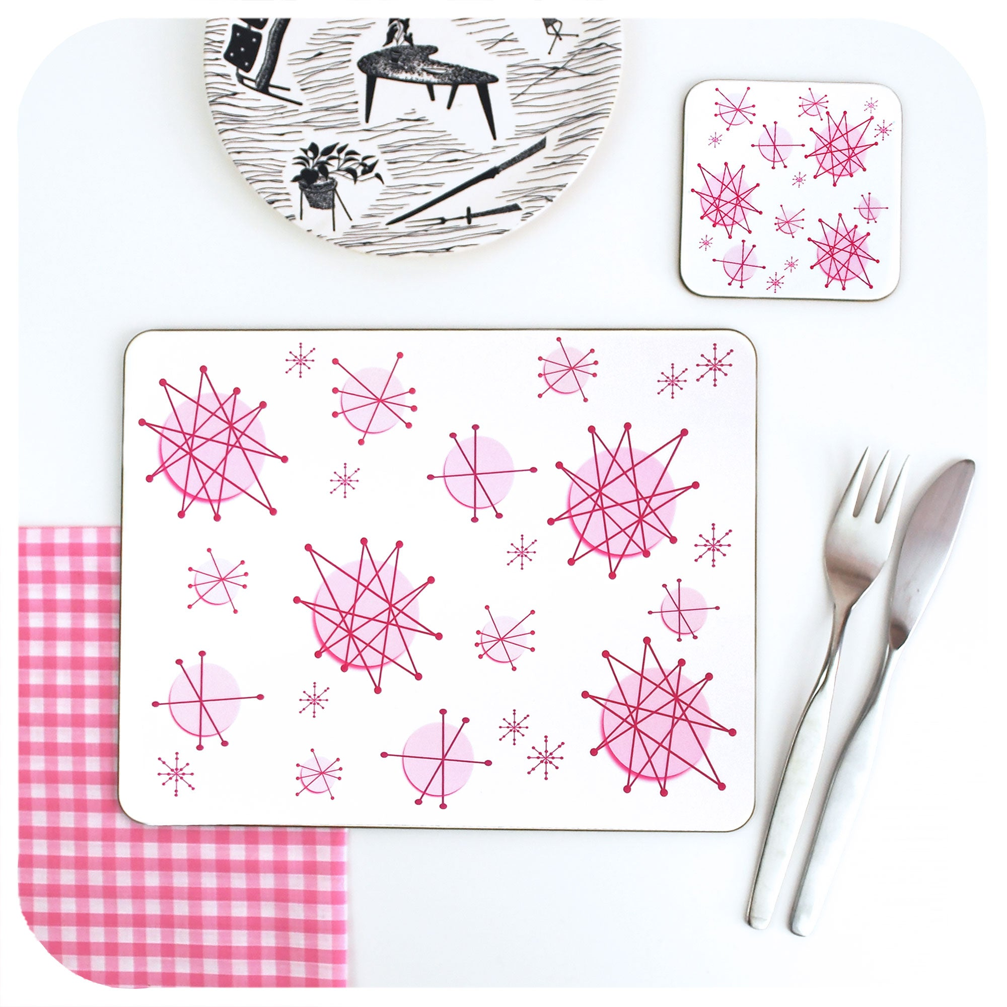 Pink Atomic Starburst Placemat & Coaster | The Inkabilly Emporium