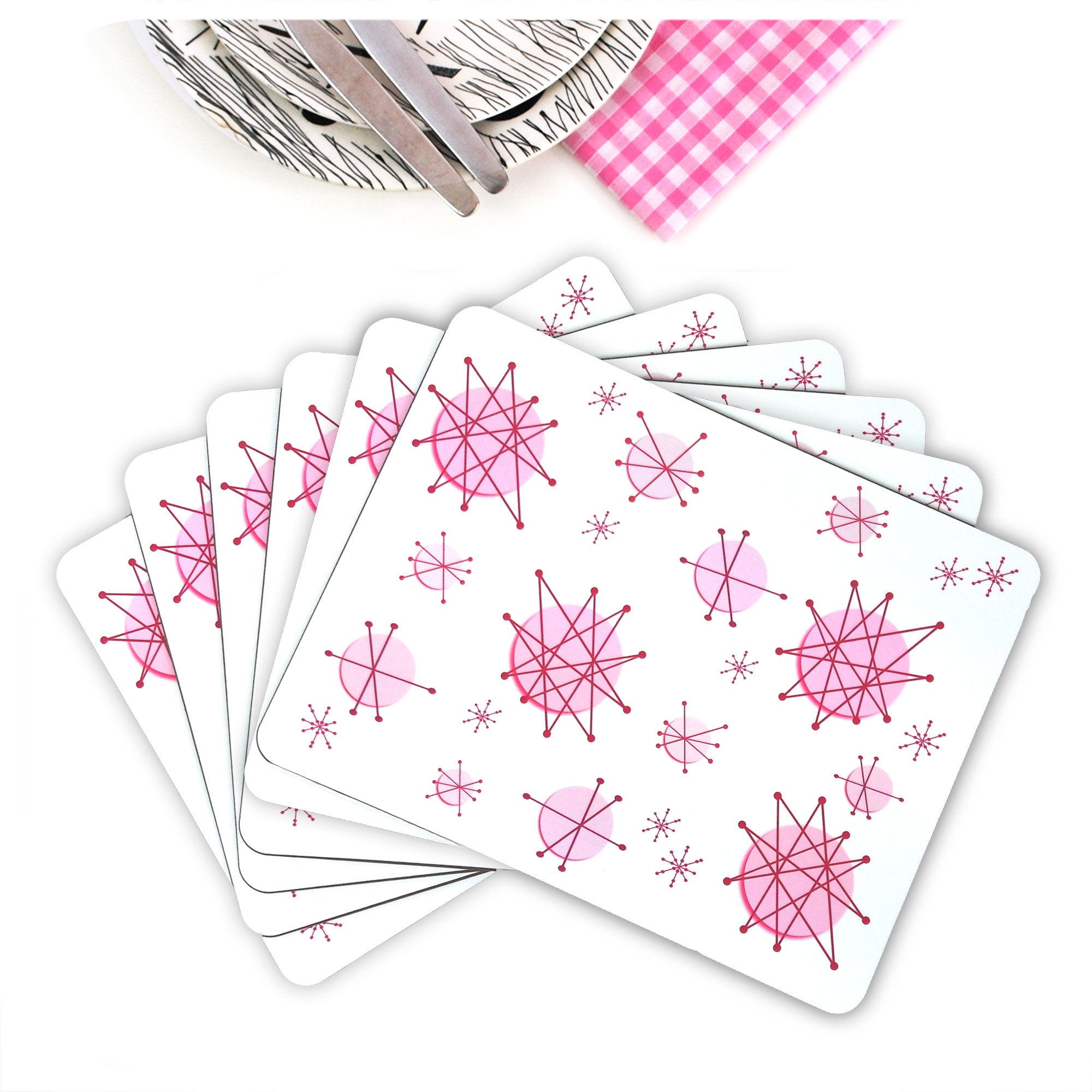 Set of 6 Pink Atomic Starburst Placemats | The Inkabilly Emporium
