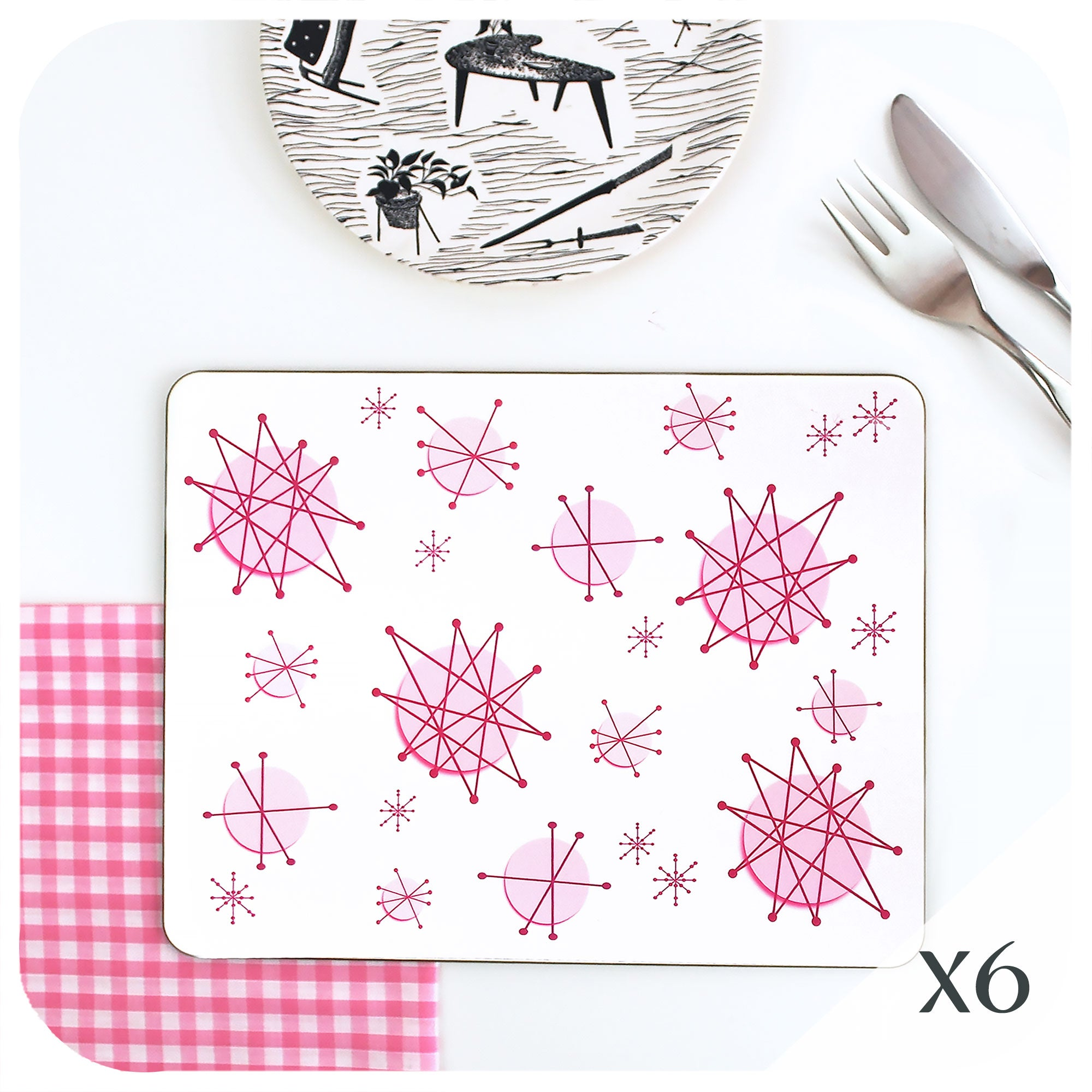 Pink Atomic Starburst Placemats, set of 6 | The Inkabilly Emporium