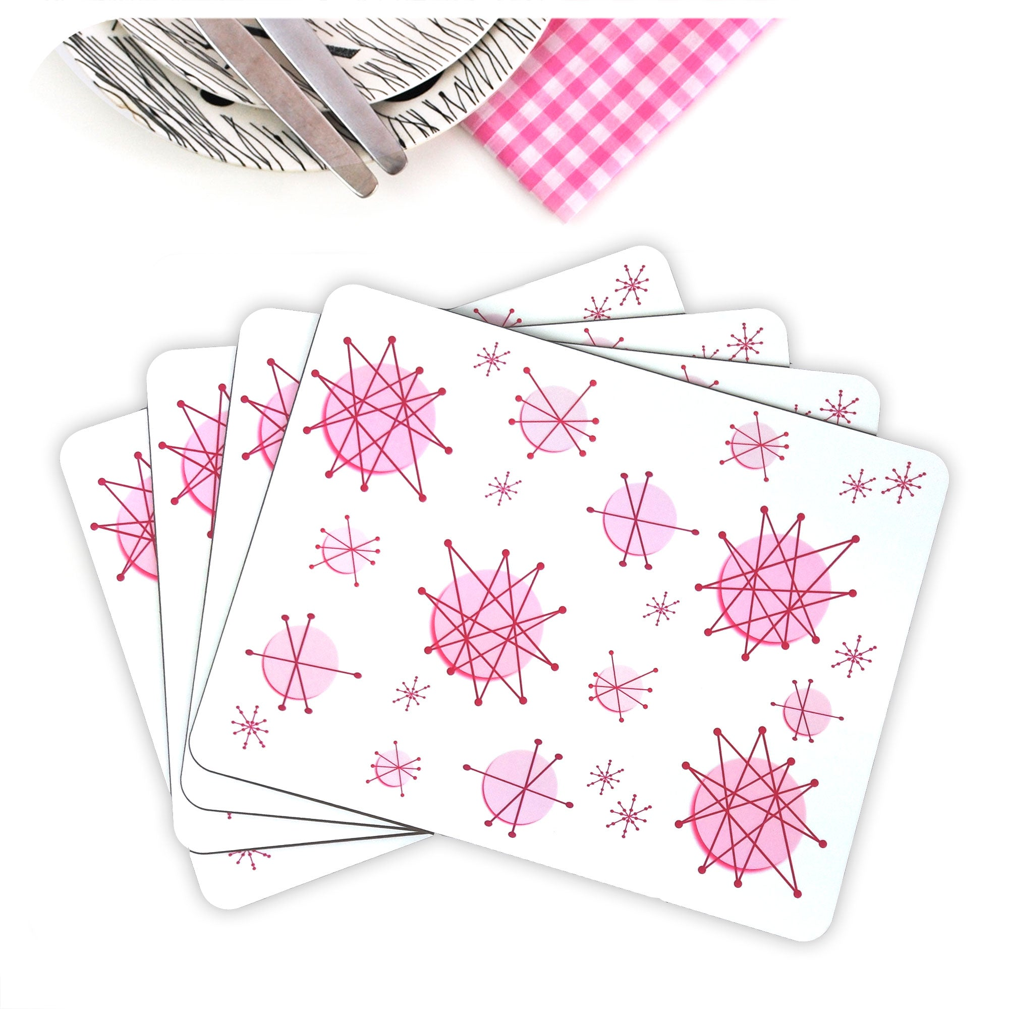 Pink Atomic Starburst Placemats, set of four in a fan | The Inkabilly Emporium