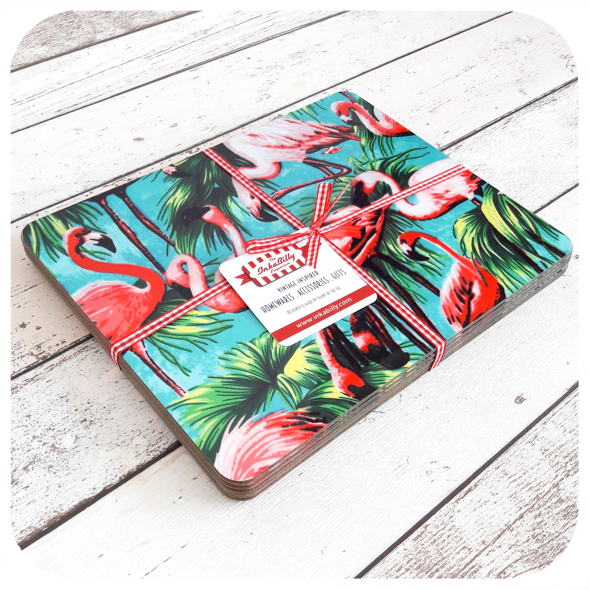 Flamingo Placemats, set of 4, tied with ribbon | The Inkabilly Emporium