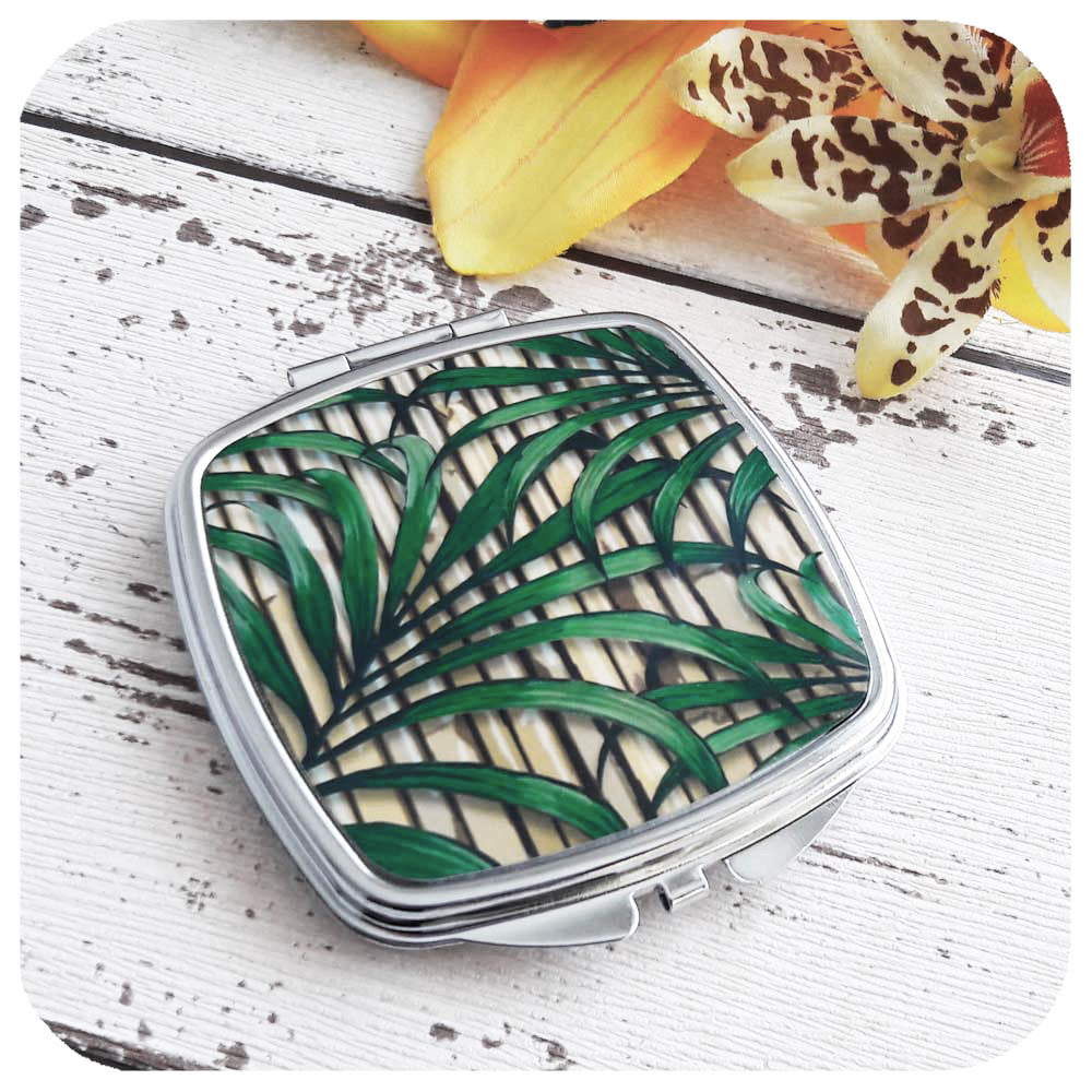 Tropical Palm Leaf Compact Mirror | The Inkabilly Emporium
