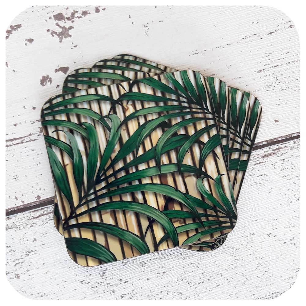 Retro Bamboo, Palm Leaf Coasters | The Inkabilly Emporium