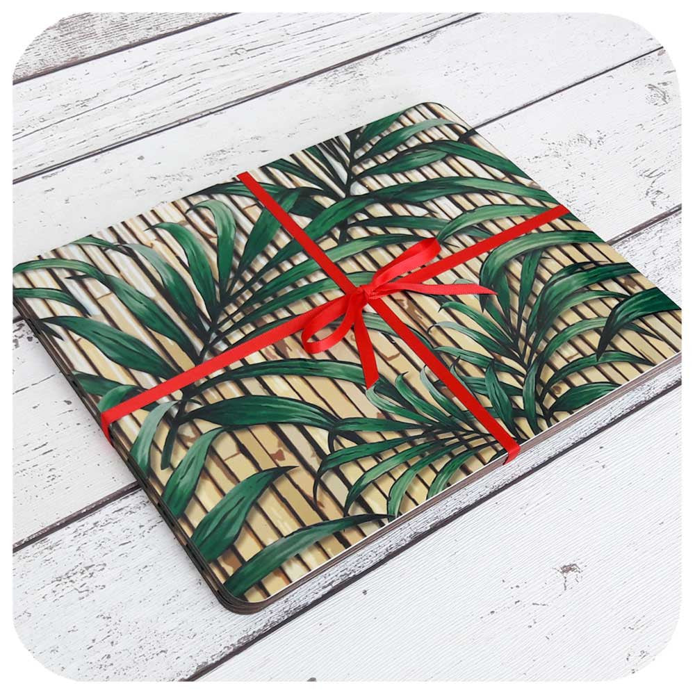 Tiki Palm Leaf on Bamboo placemats, set of four | The Inkabilly Emporium
