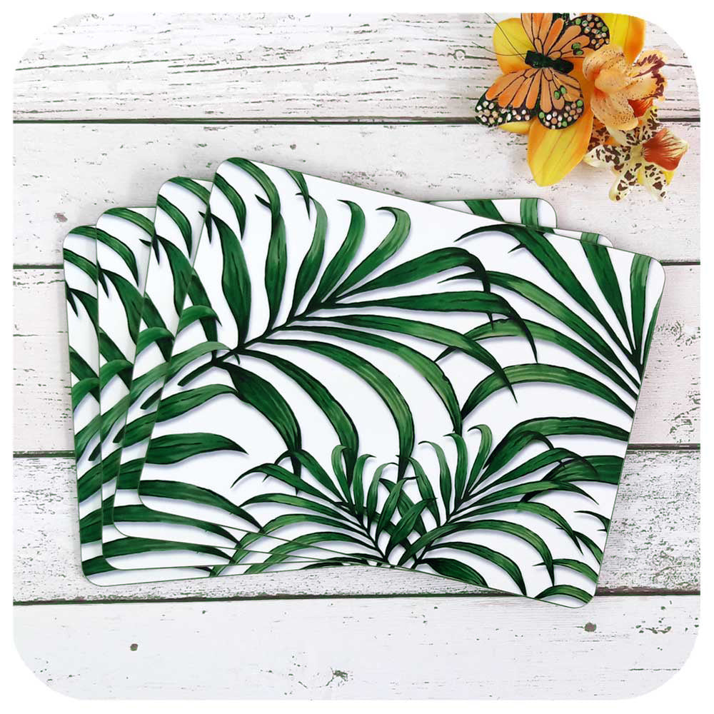 Tropical Palm Leaf Placemats, Set of Four | The Inkabilly Emporium