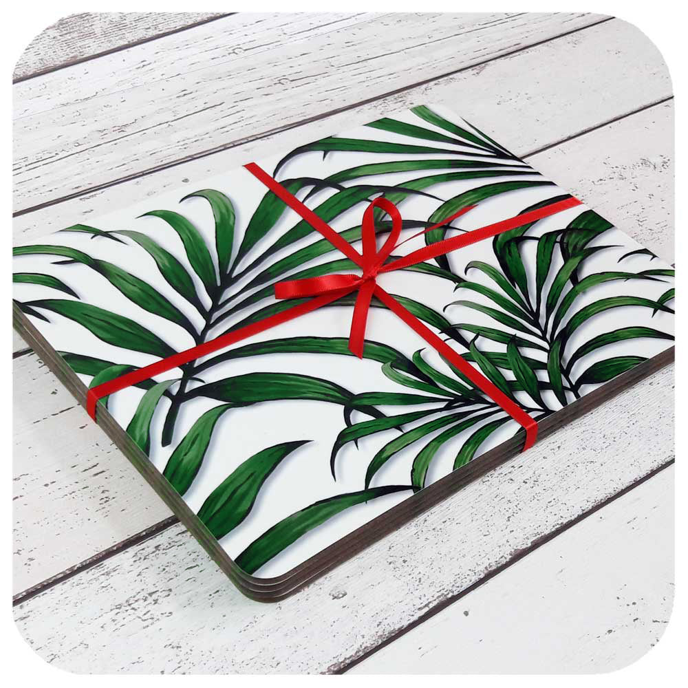Palm Leaf Placemats, tied in red ribbon | The Inkabilly Emporium
