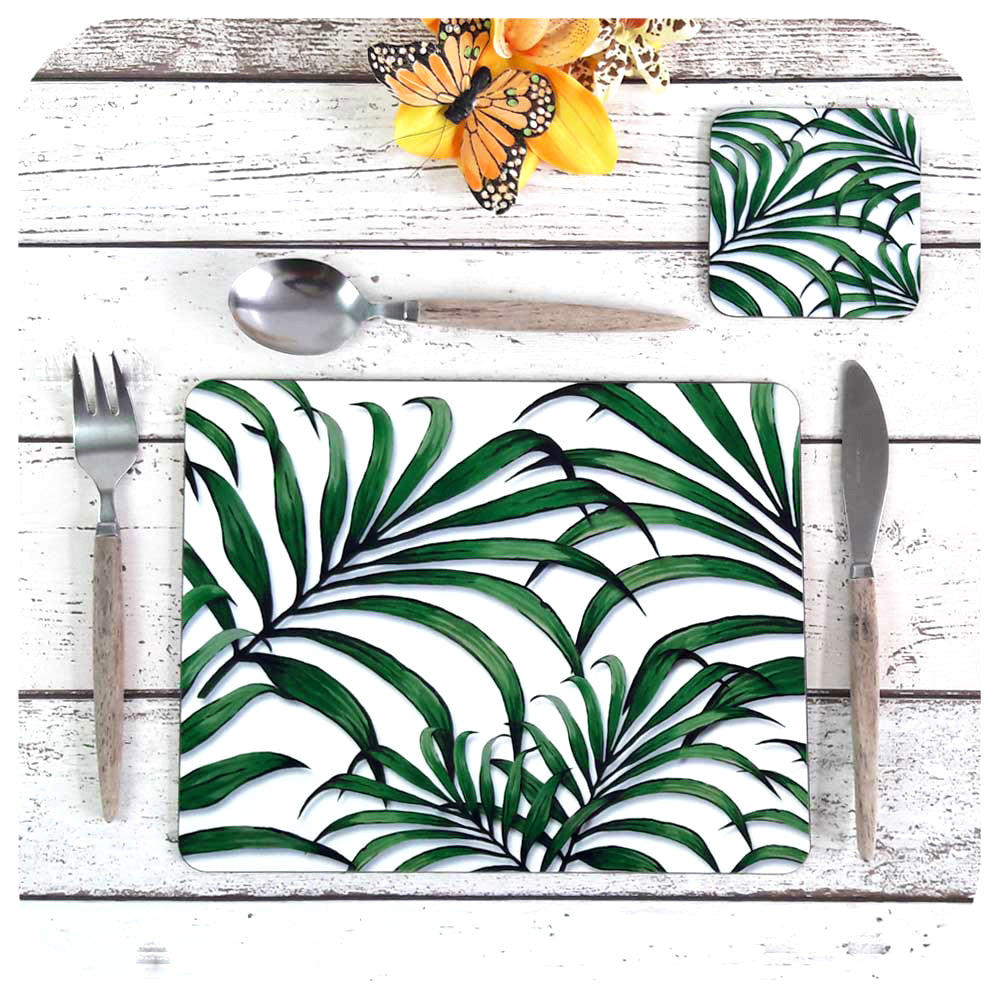 Palm Leaf Print Placemat and matching Coaster | The Inkabilly Emporium
