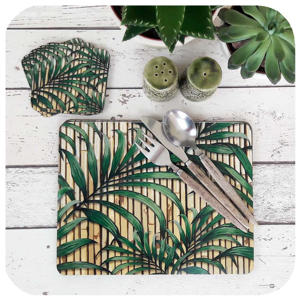 Tropical Palm Leaf Tableware set, matching placemats and coasters  | The Inkabilly Emporium