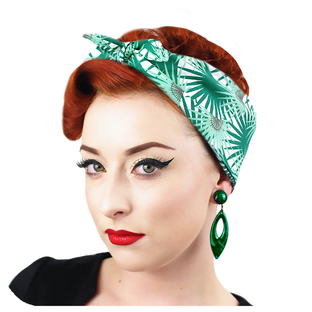 Palm Leaf Bandana, worn in a 1950s Rockabilly style | The Inkabilly Emporium