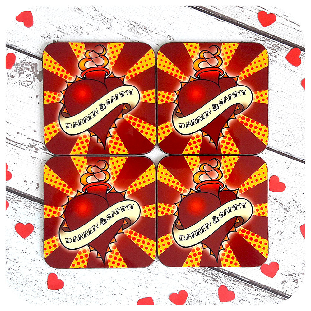 Custom Wedding Gift Coasters, Sacred Love Heart | The Inkabilly Emporium