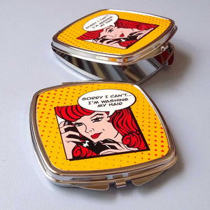 comic strip pin up compact mirror | The Inkabilly Emporium