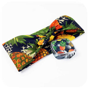Pineapple Bandana & Compact Mirror, Tropical Gift Set  | The Inkabilly Emporium