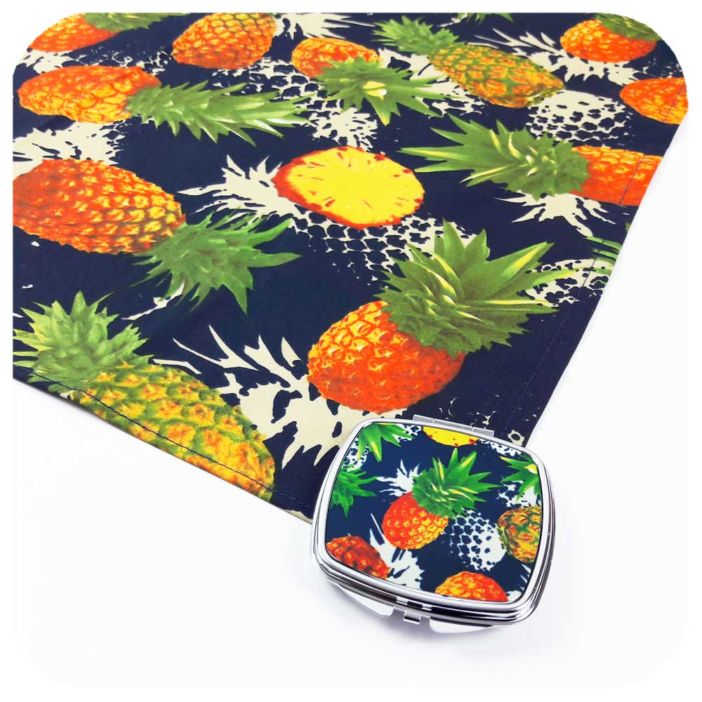 Pineapple Compact Mirror & matching Pineapple Bandana | The Inkabilly Emporium