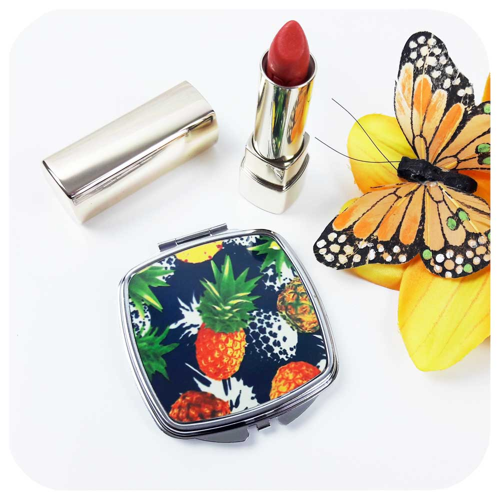 Pineapple Print Compact Handbag Mirror | The Inkabilly Emporium
