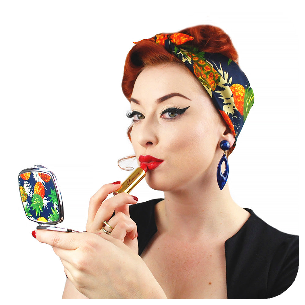 Pineapple Gift Set, matching bandana and compact mirror, modelled by retro pin up model Miss Jessica Holly