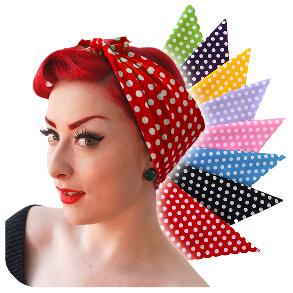 Polka Dot Bandanas, scarves, Modelled in Red and White Polka Dots  | The Inkabilly Emporium