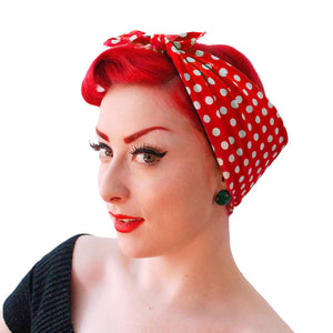 Red Polka Dot Bandana. Rosie the Riveter Bandana | The Inkabilly Emporium