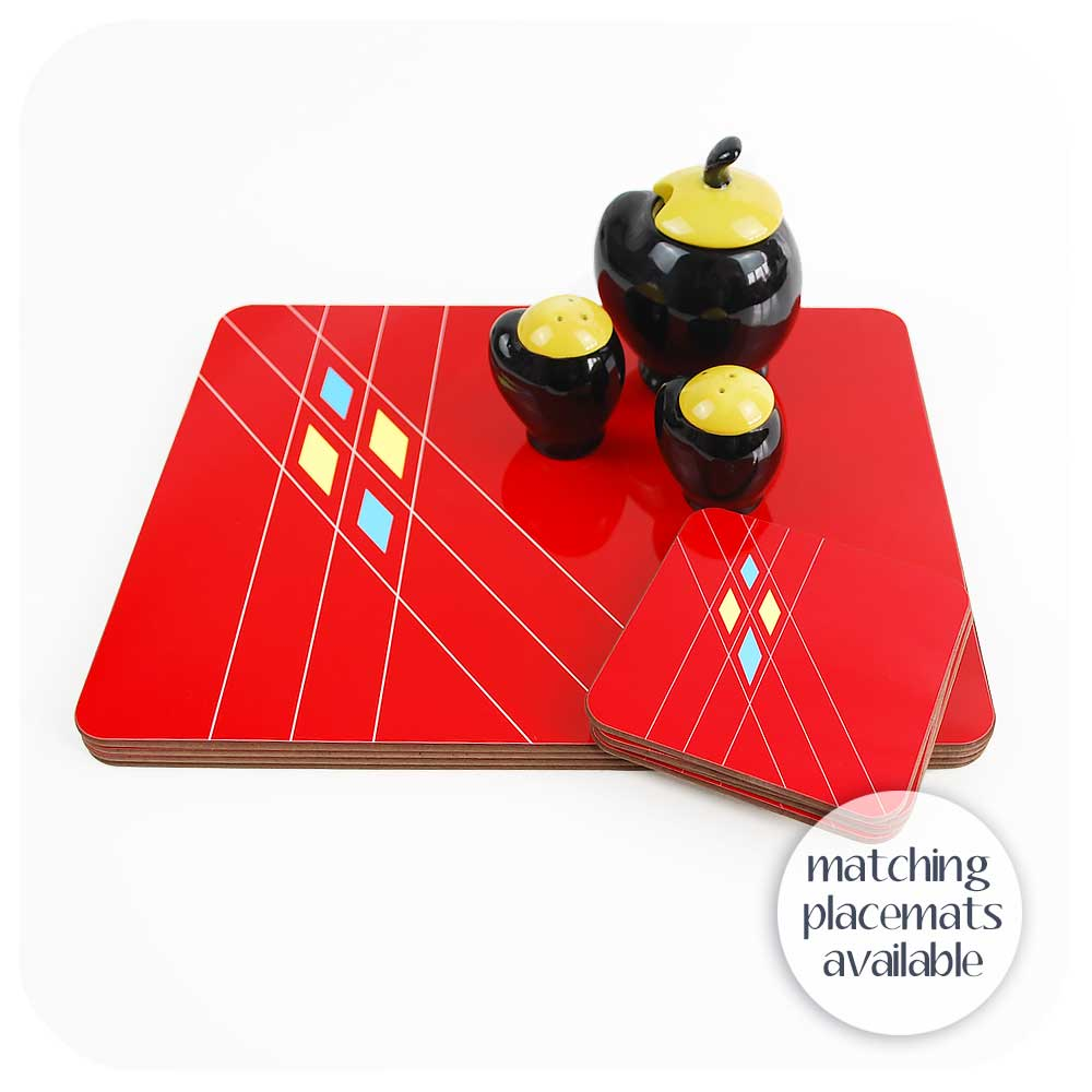 Matching Mid Century Geometric Placemats in Red also available | The Inkabilly Emporium