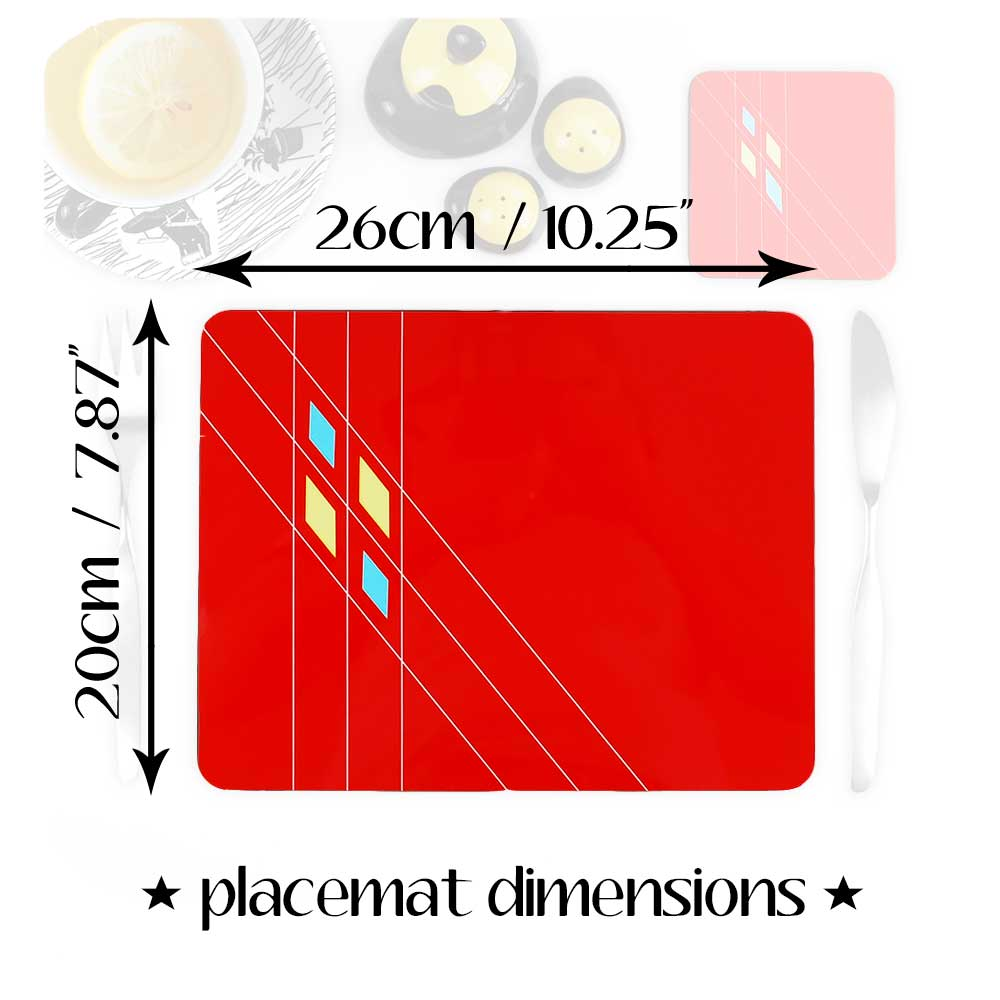 Mid Century Geometric Placemat Dimensions | The Inkabilly Emporium