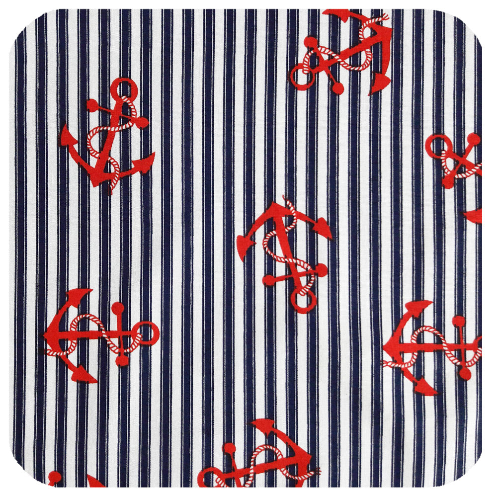 Red Anchors on Navy Stripes, close up detail of bandana fabric | The Inkabilly Emporium