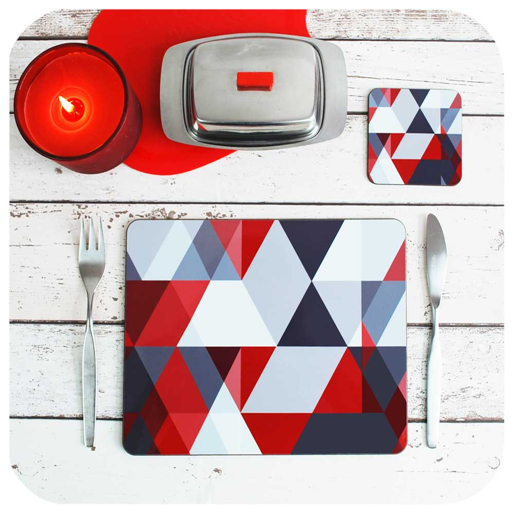 Scandinavian Red & Grey Geometric Placemat and matching Coaster | The Inkabilly Emporium