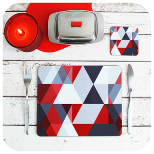 Scandi Christmas, Red and Grey Placemat and matching coaster | The Inkabilly Emporium