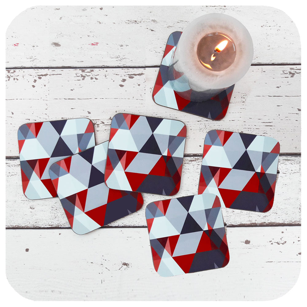 Scandi Coasters in Reds & Greys, Set of 6 | The Inkabilly Emporium