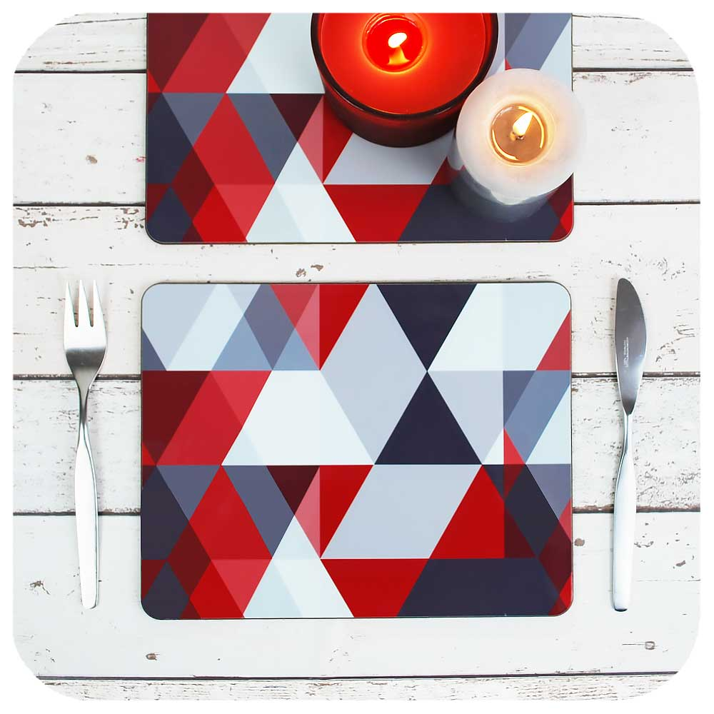 Scandi Geometric Placemats in Red & Grey | The Inkabilly Emporium