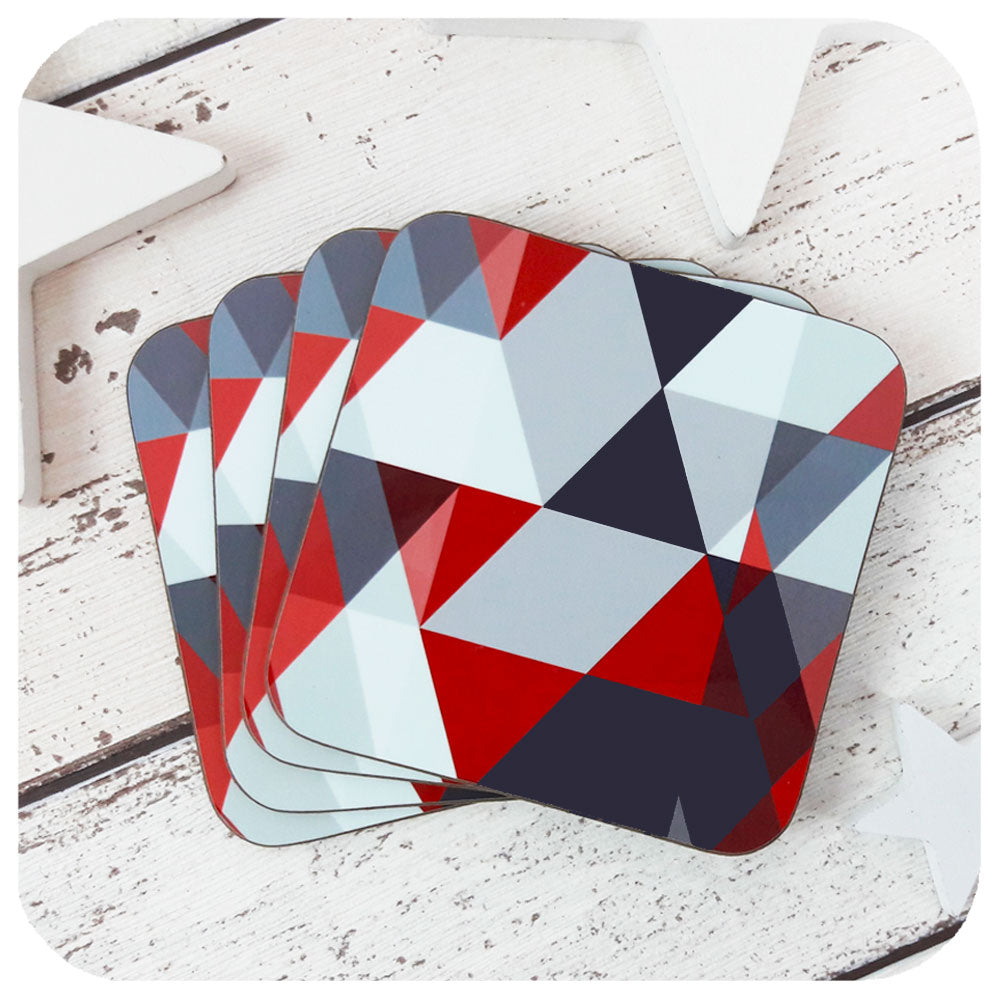 Scandi Coasters - geometric red & grey - laid out in a fan | the Inkabilly Emporium