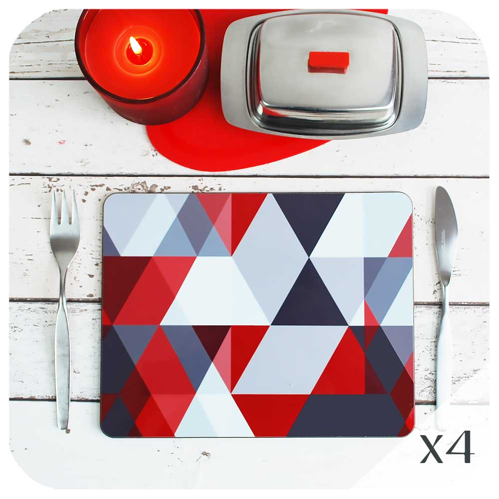 Red & Grey Scandi Geometric Placemat set on a table with candle and vintage butter dish | The Inkabilly Emporium