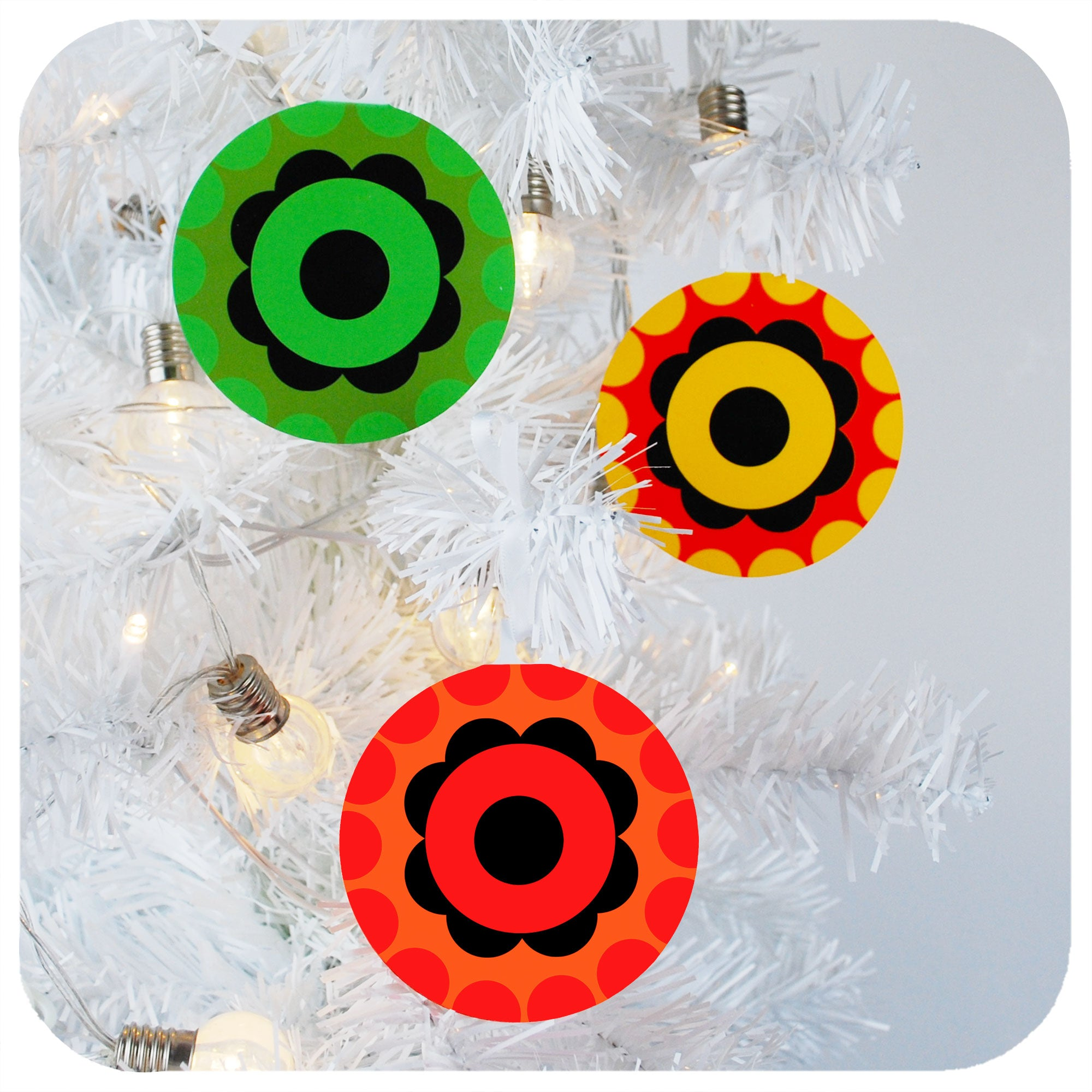 Three 70s style Christmas Tree Ornaments hanging in white Christmas tree | The Inkabilly Emporium