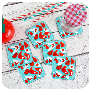 Atomic Boomerang Coasters in turquoise & red, set of 6 | The Inkabilly Emporium
