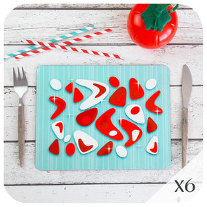 Set of 6 Atomic Boomerang Placemats in Turquoise & Red | The Inkabilly Emporium