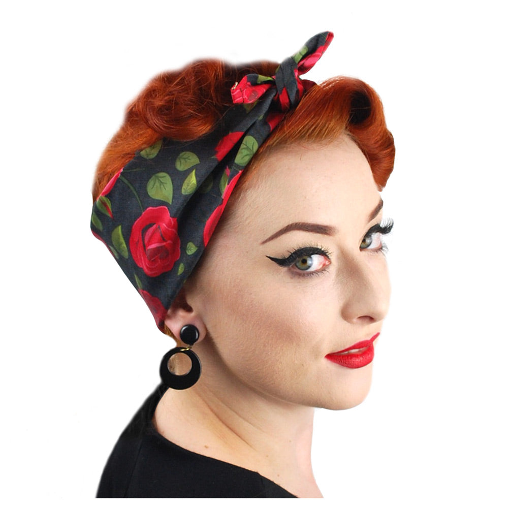 Rockabilly Rose Bandana, side view | The Inkabilly Emporium
