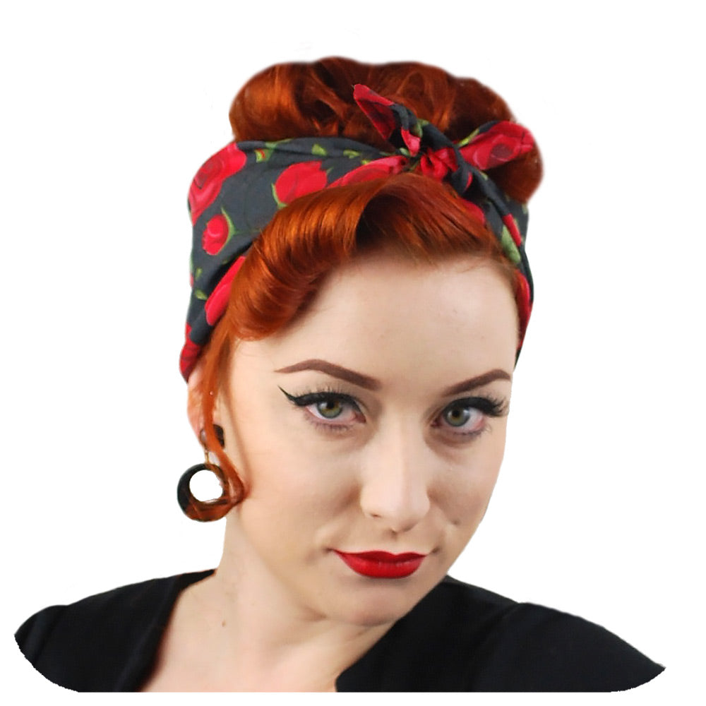 Rockabilly Rose Bandana, front view | The Inkabilly Emporium