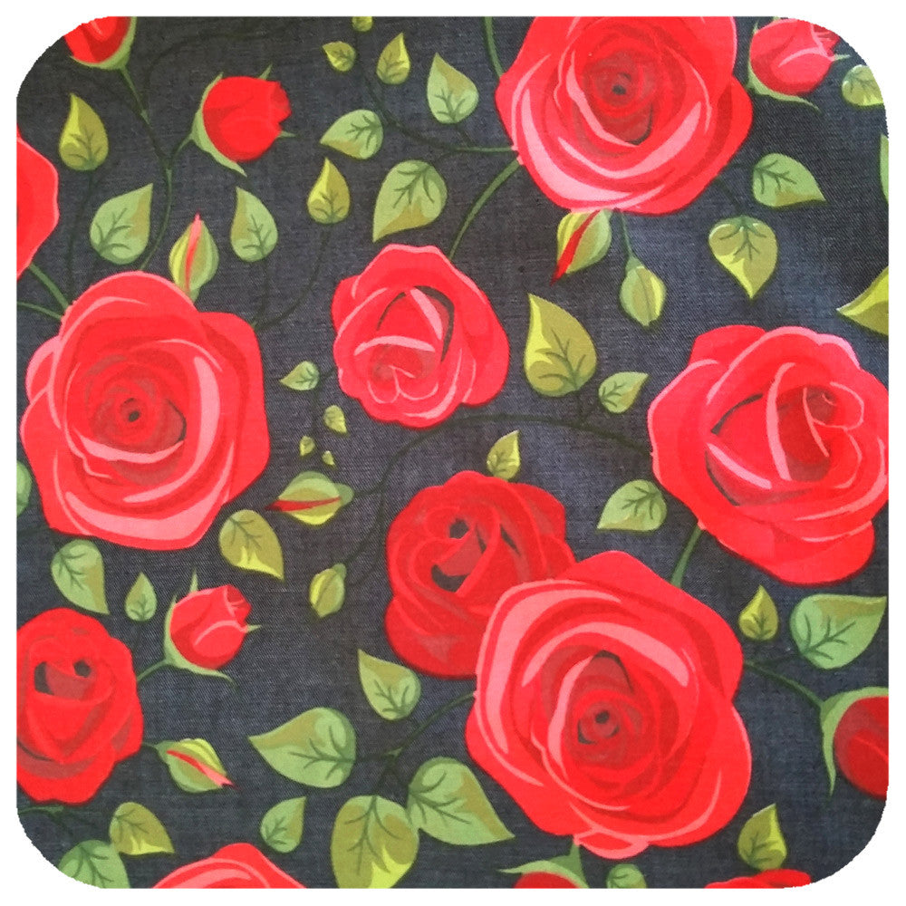 Rockabilly Rose Head Scarf, Red Roses against deep denim background  | The Inkabilly Emporium