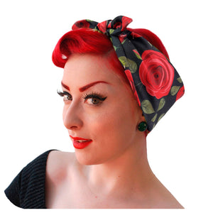 Rockabilly Rose Gift Set | Red Roses headscarf & matching compact mirror | The Inkabilly Emporium