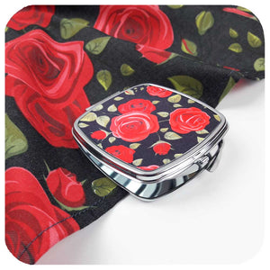 Rockabilly Rose Pin-up Gift Set. Rose Bandana and matching compact mirror, modelled by retro pin up model Miss Jessica Holly | The Inkabilly Emporium
