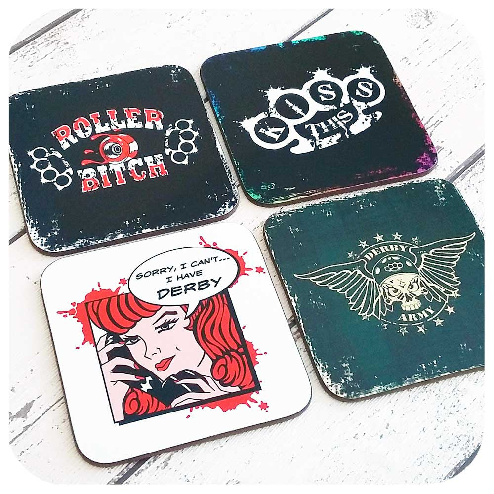 Roller Derby Coasters, set of four  | The Inkabilly Emporium