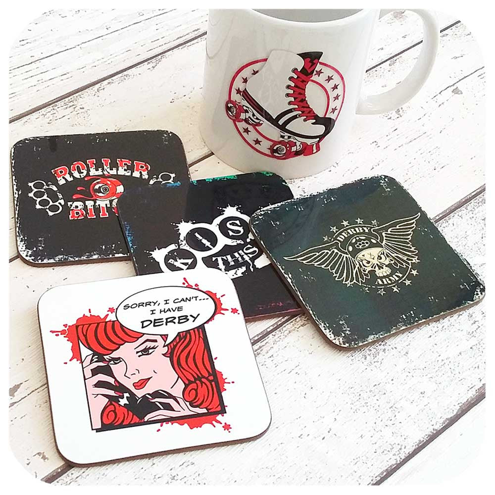 Roller Derby Coasters, with Retro Roller Skate Mug  | The Inkabilly Emporium