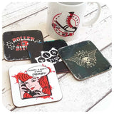 Roller Derby Coasters and mugs