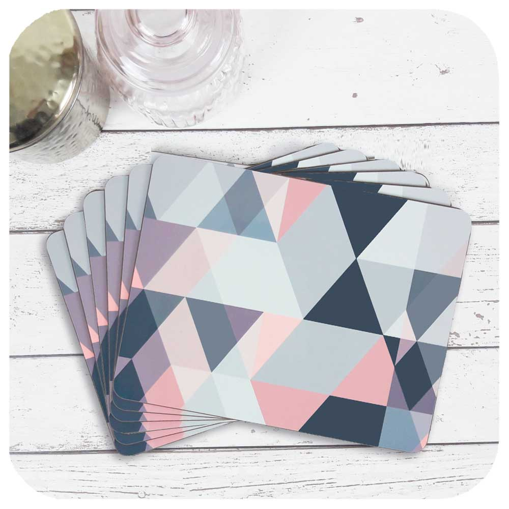 Set of 6 Placemats in Grey and Pink Geometric Design | The Inkabilly Emporium