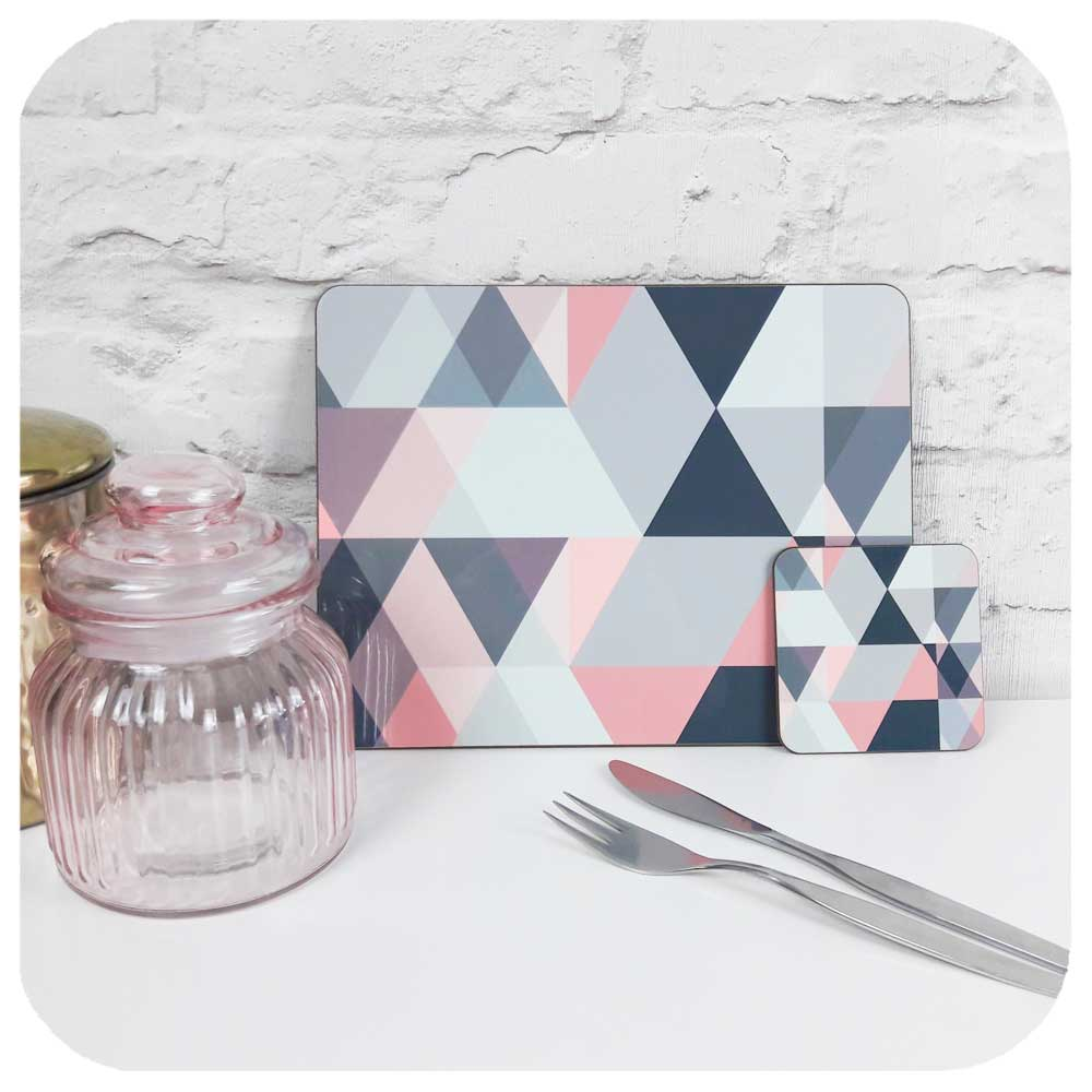 Scandi Grey and Pink Placemat and coaster with rose pink jar, gold canister and mid century cutlery | The Inkabilly Emporium